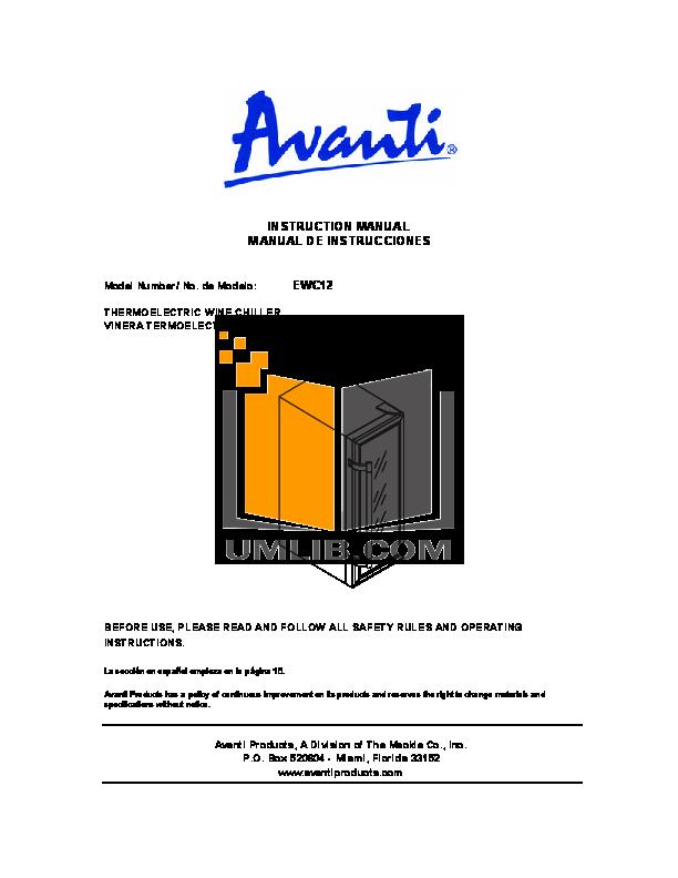 pdf for Avanti Refrigerator EWC12 manual