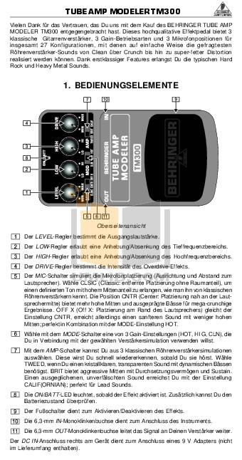 pdf for Behringer Amp TM300 manual