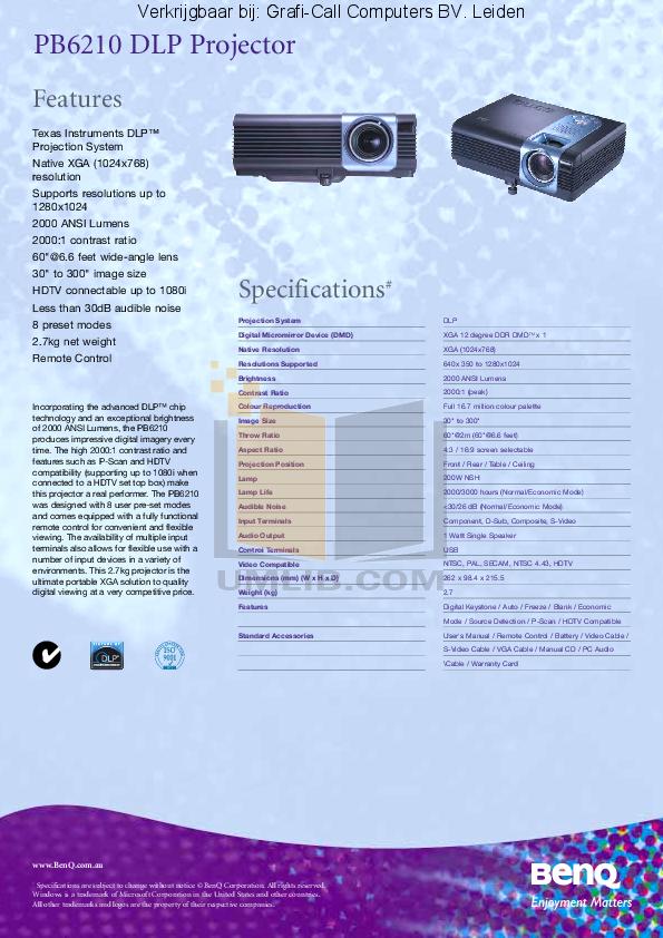 pdf for Benq Projector PB6210 manual