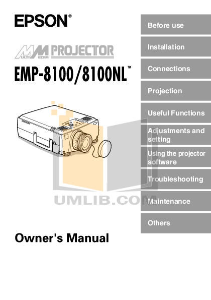 pdf for Epson Projector EMP-8100 manual