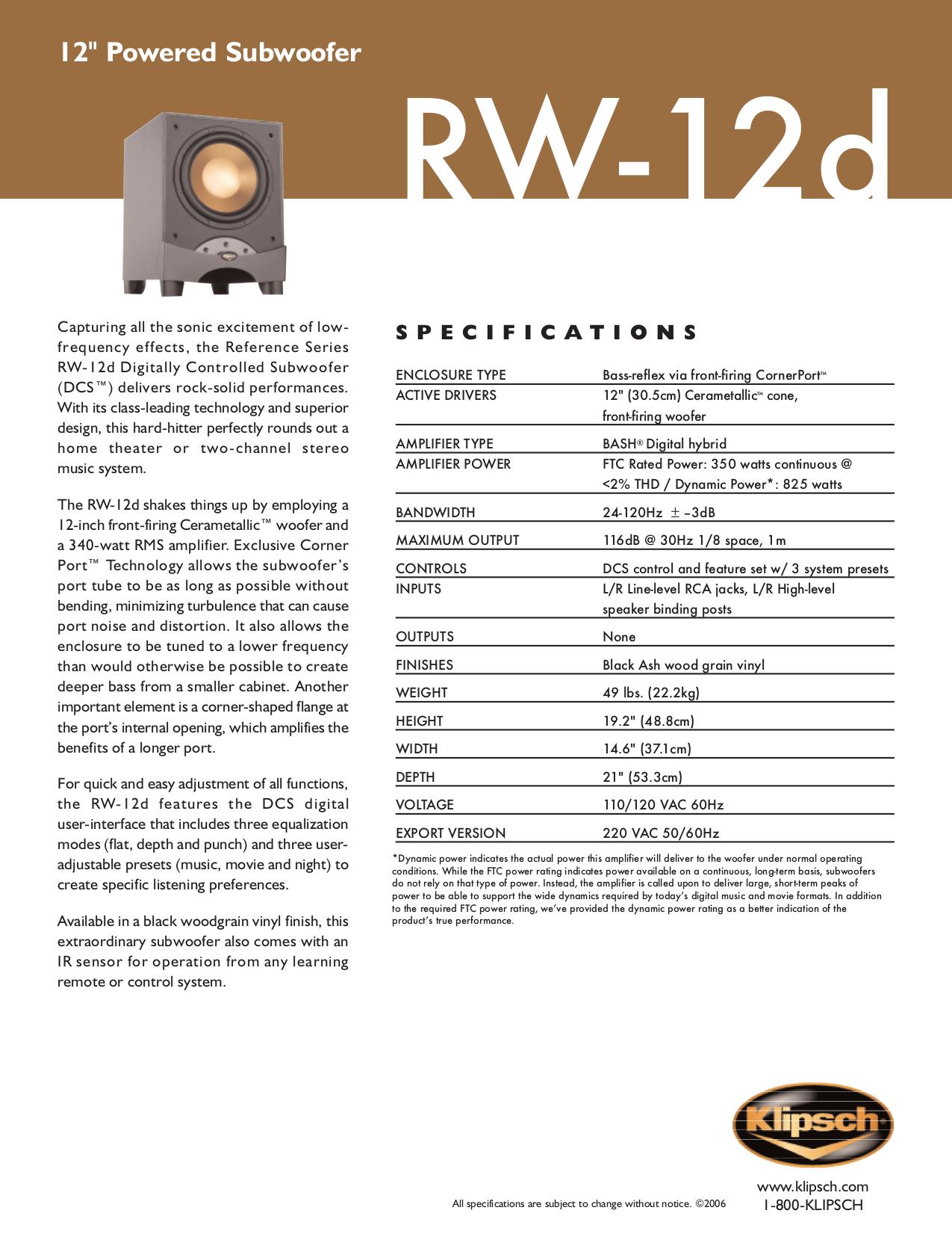 klipsch rw 12d manual