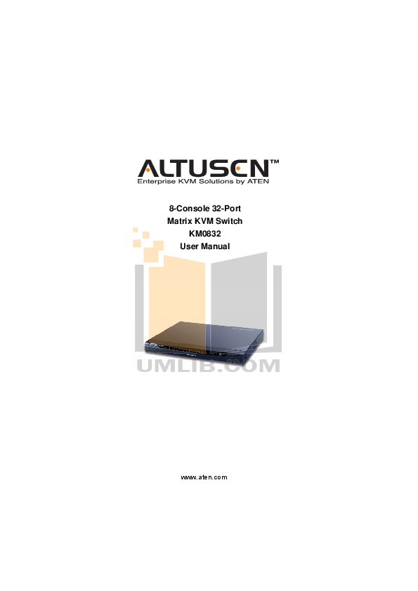 pdf for ATEN Other Altusen KA-9272 KVM Switch manual