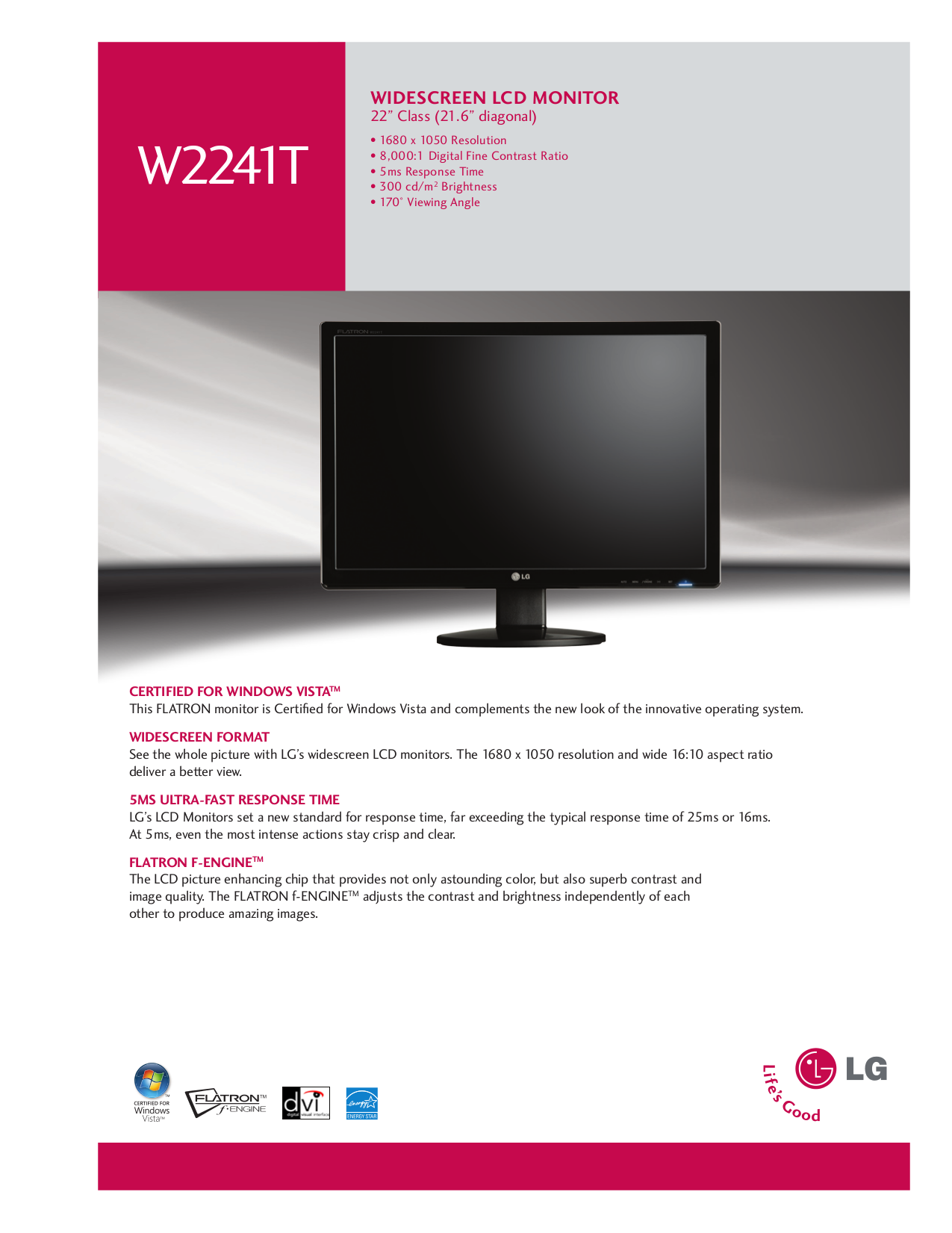 pdf for LG Monitor W2241T manual