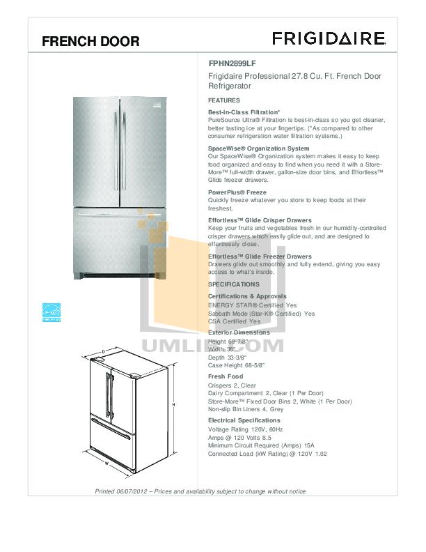 pdf for Frigidaire Refrigerator Gallery FGHB2844L manual
