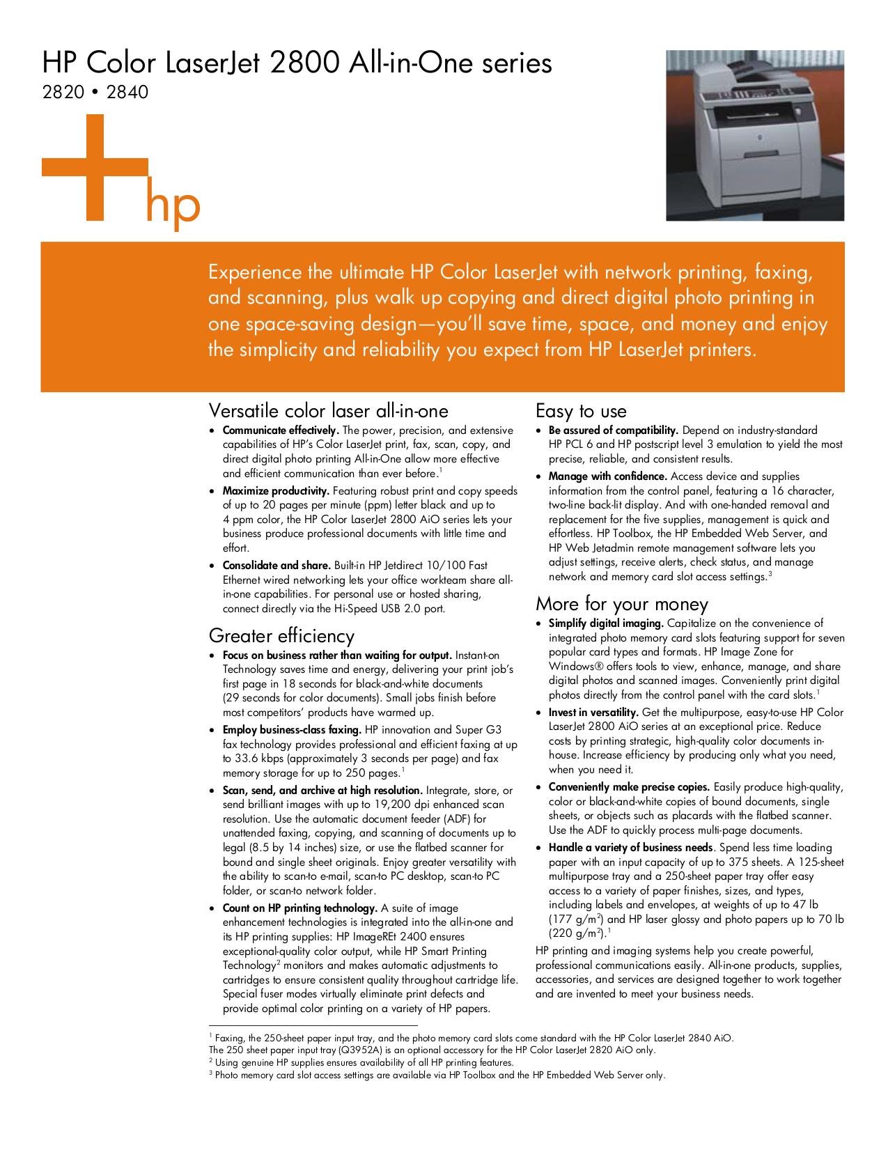 pdf for HP Multifunction Printer Laserjet,Color Laserjet 2840 manual