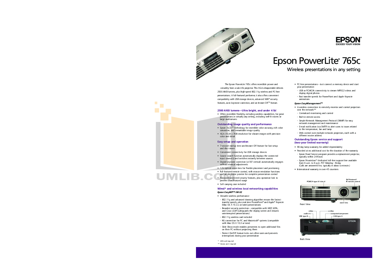 pdf for Epson Projector PowerLite 765c manual