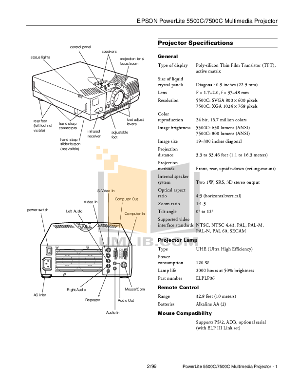 pdf for Epson Projector PowerLite 5500c manual