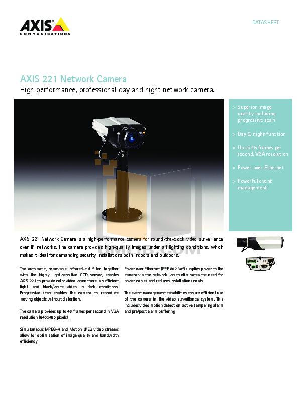 pdf for Axis Security Camera 221 manual