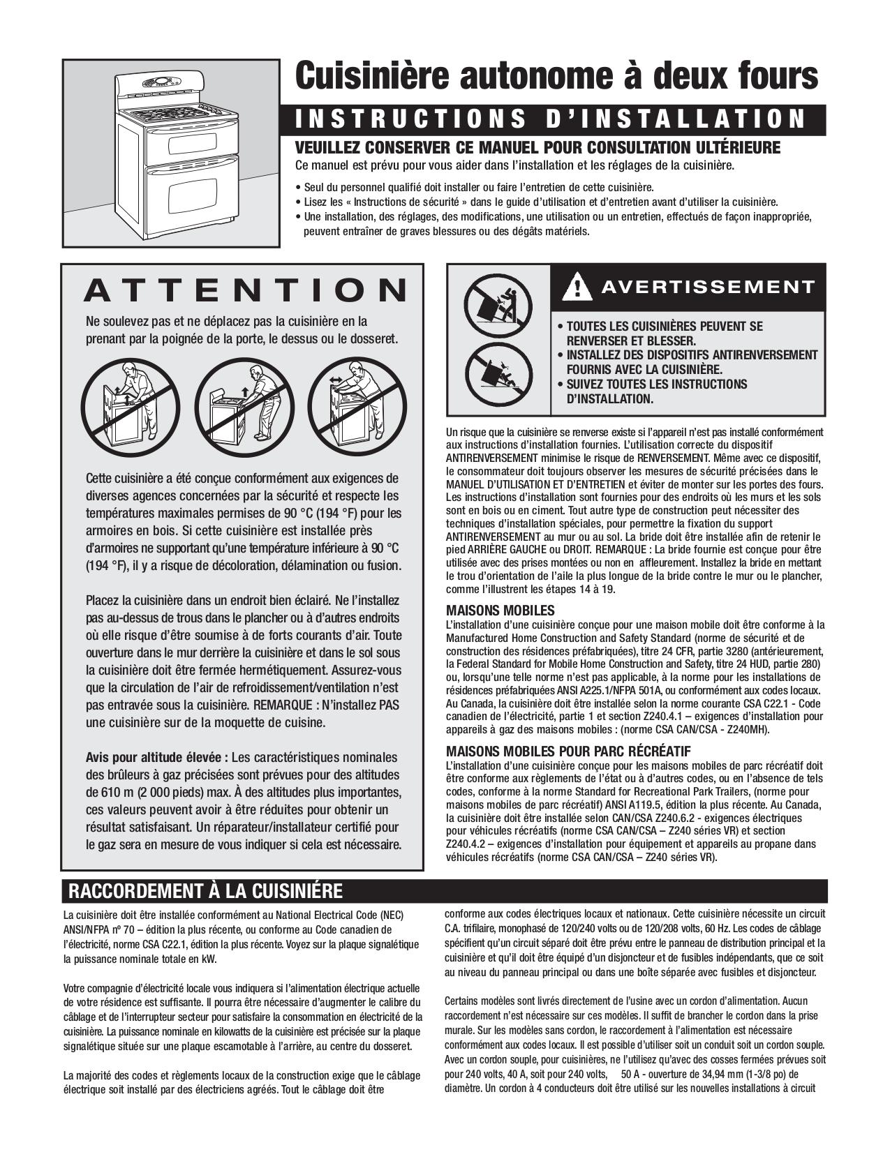 ... Jenn-Air Range JDR8895 pdf page preview ...
