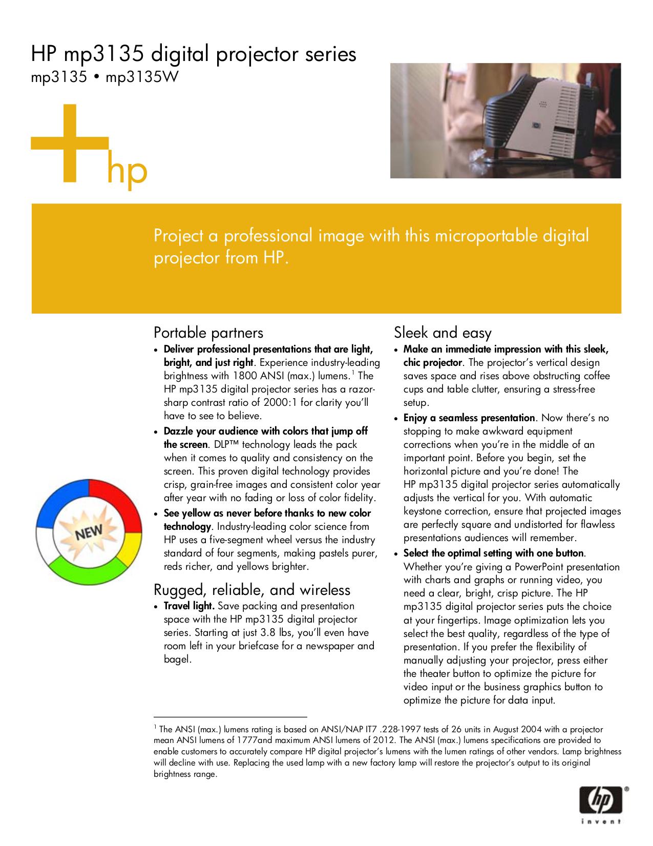 Hp mp3135 digital projector manuals.