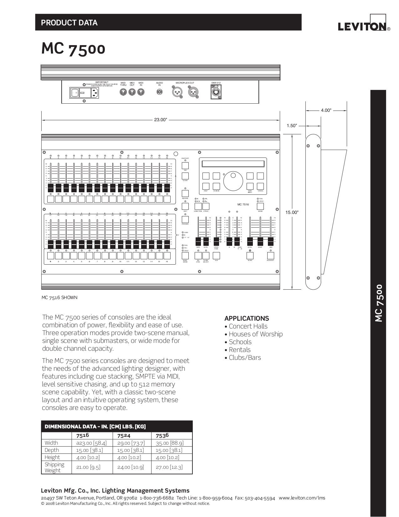 Download free pdf for Leviton MC 7500 Series MC7516 Lighting ...