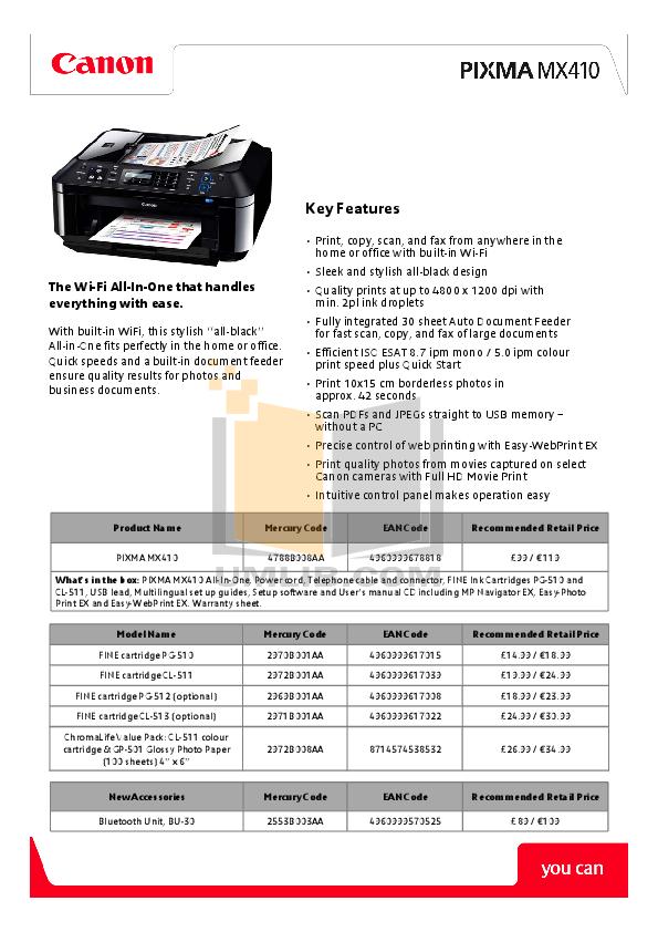 Mx series   pixma mx410   canon usa.