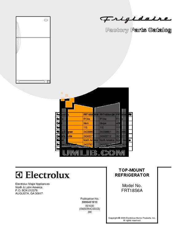 pdf for Frigidaire Refrigerator FRT18S6AQ manual