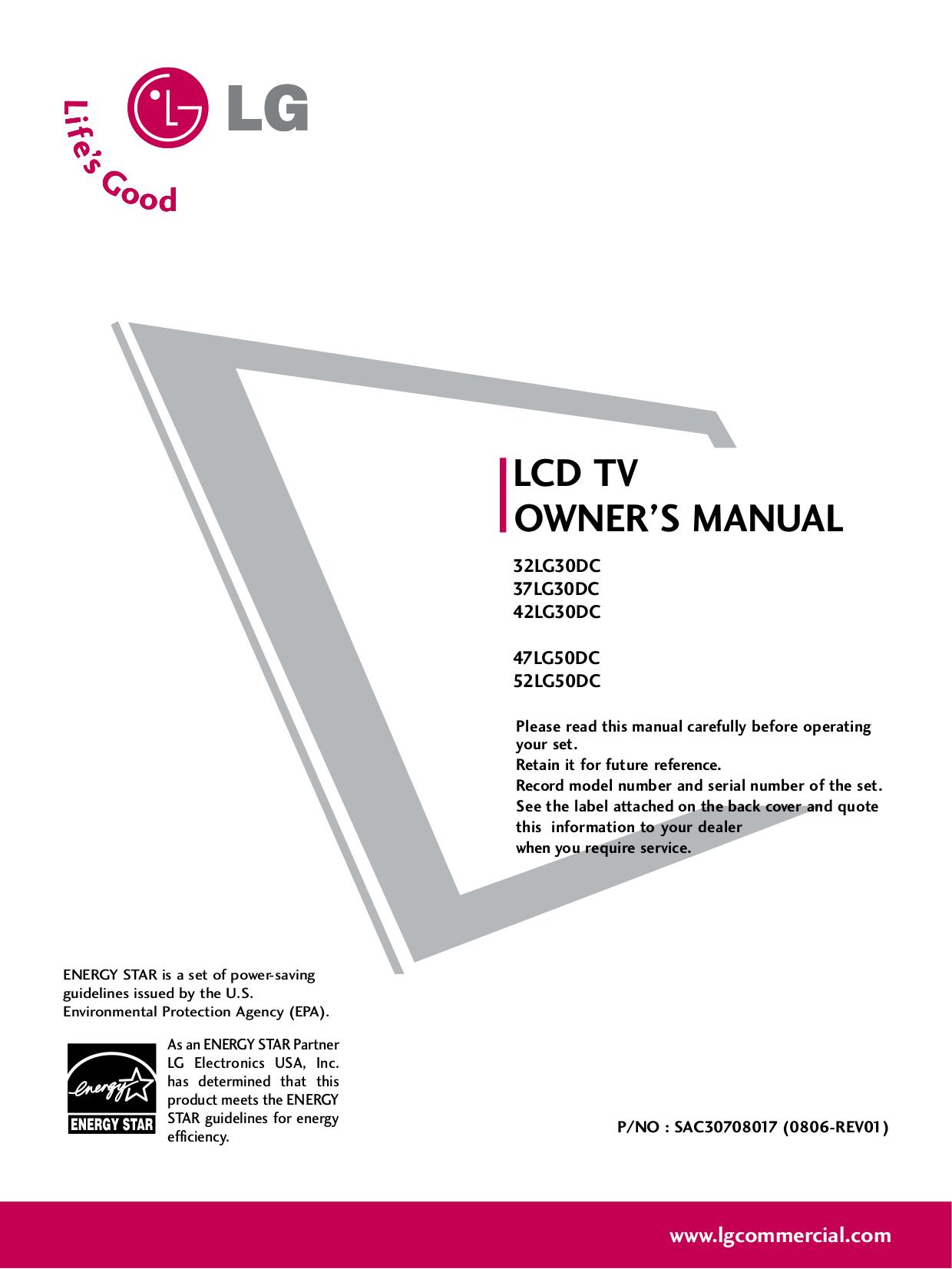 pdf for LG TV 42LG30DC manual