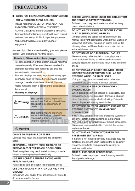 pdf for Alpine Car Video CVA-1006 manual
