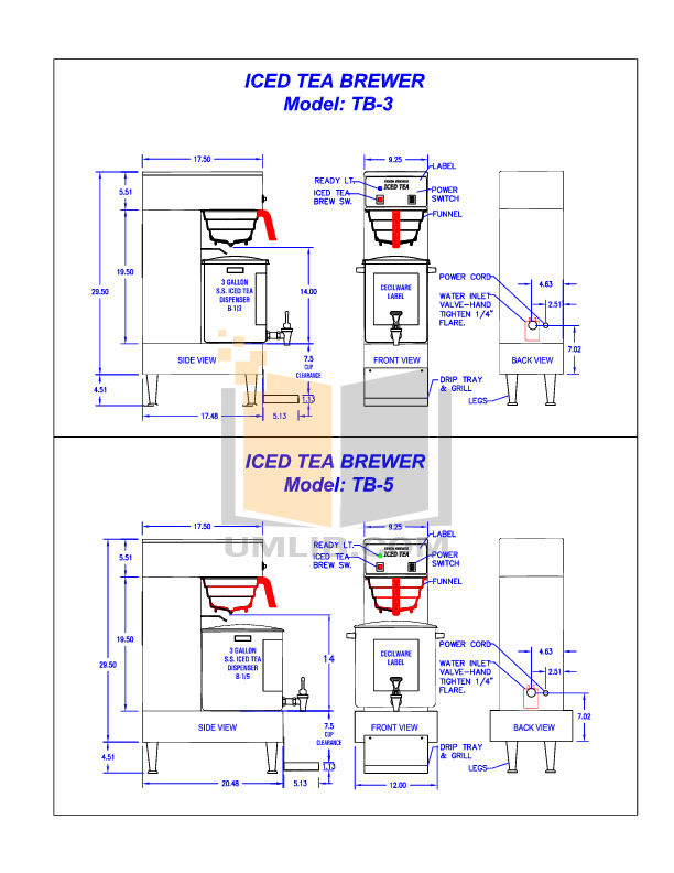 Cecilware Other TB-3 Dispensers pdf page preview