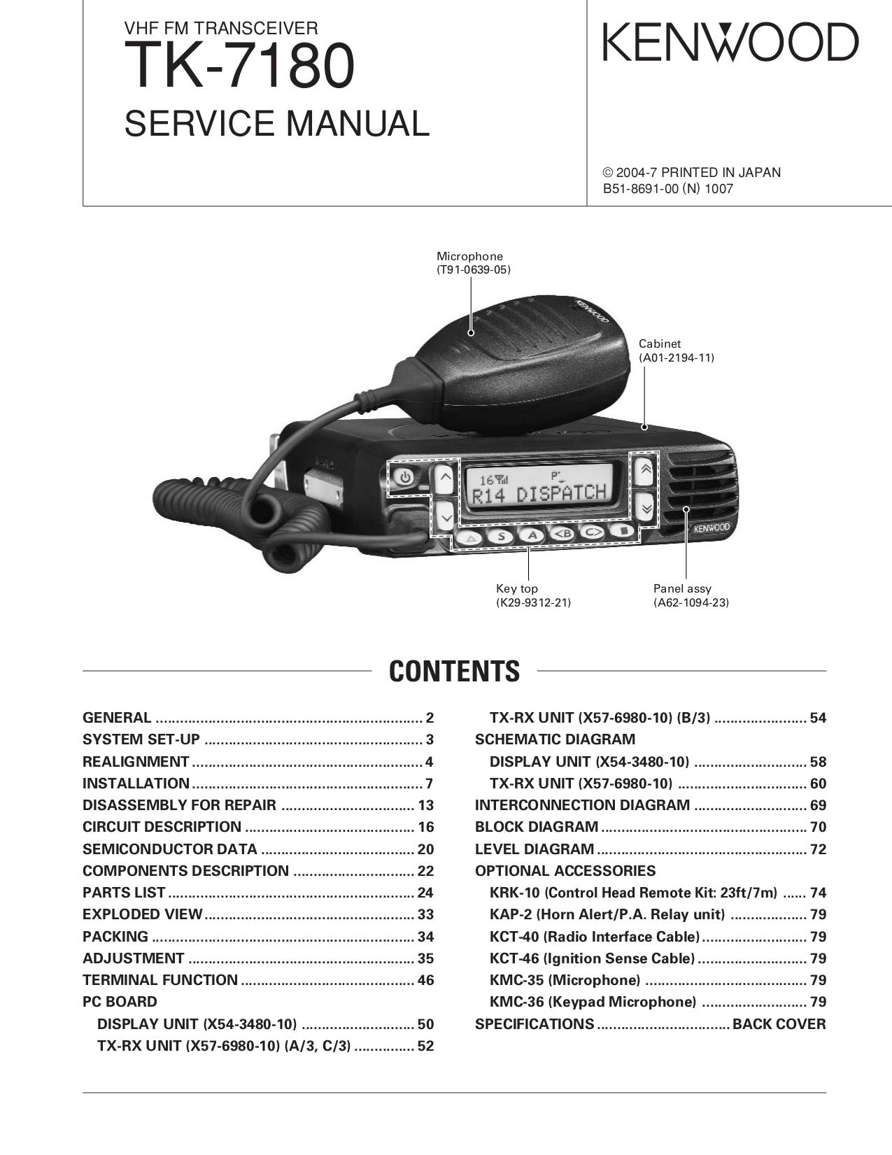 kenwood kt 593 radios owners manual