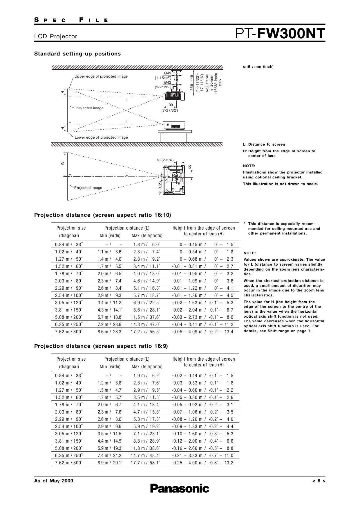 Panasonic Projector PT-FW300NT pdf page preview