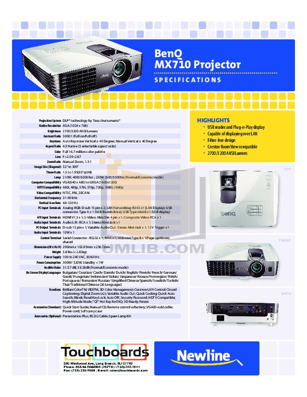 pdf for Benq Projector MX710 manual