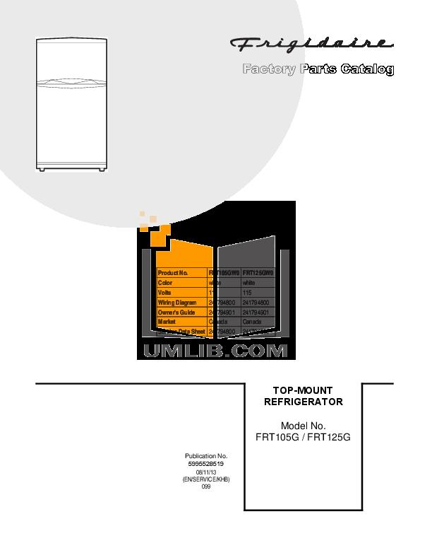 pdf for Frigidaire Refrigerator FRT125G manual