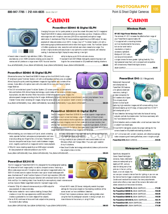 Canon Digital Camera Powershot SD980 IS pdf page preview