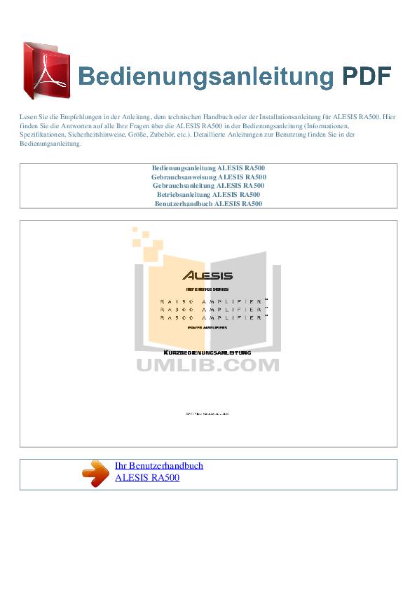 pdf for Alesis Amp RA500 manual
