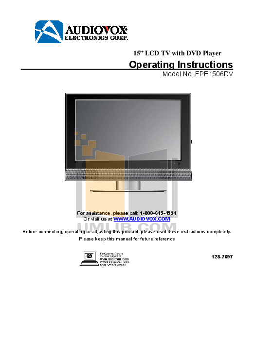pdf for Audiovox TV FPE1506DV manual