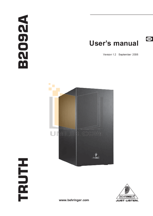 pdf for Behringer Subwoofer B2092A manual