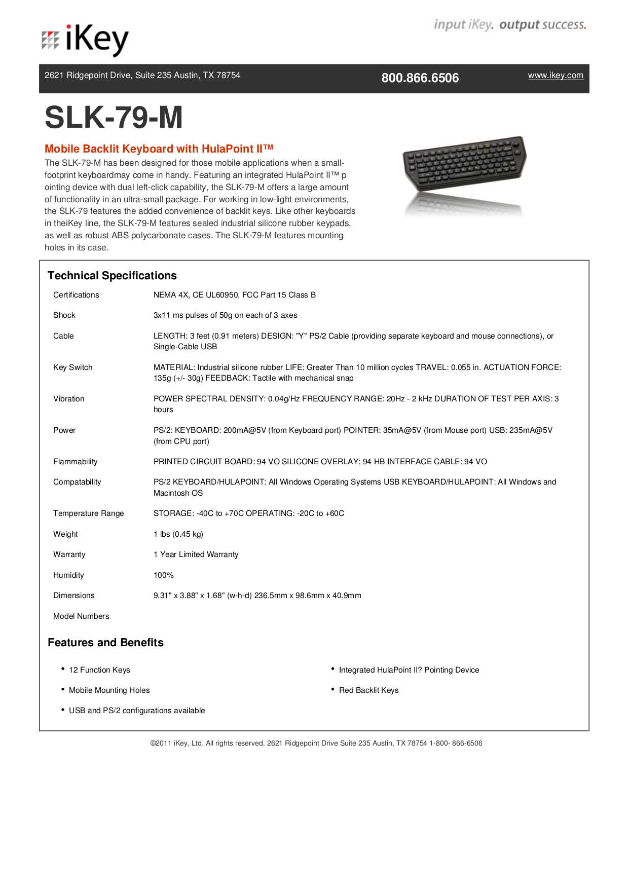 pdf for iKey Keyboard SLK-79-M manual
