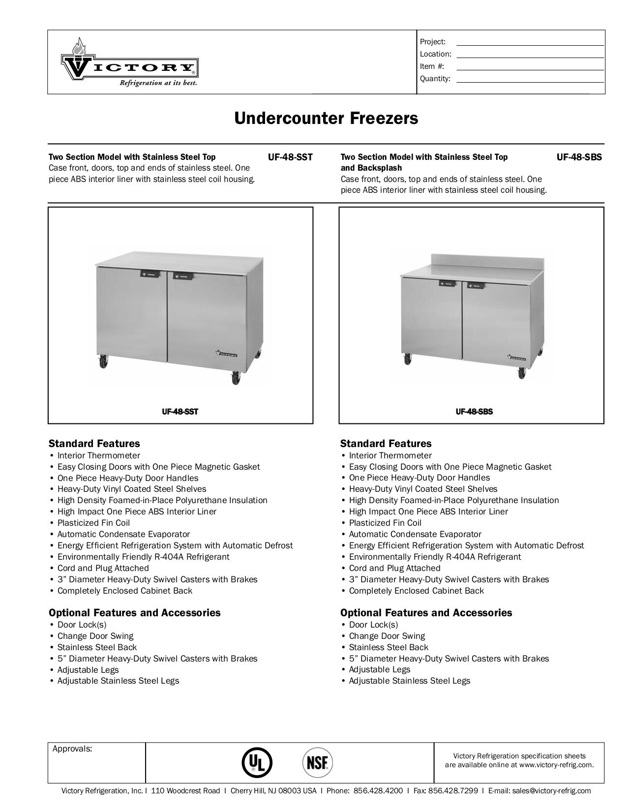 pdf for Victory Freezer UF-48-SST manual