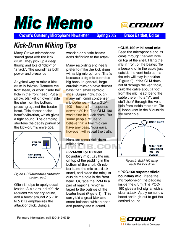 pdf for Crown Other LM-300A Microphones manual