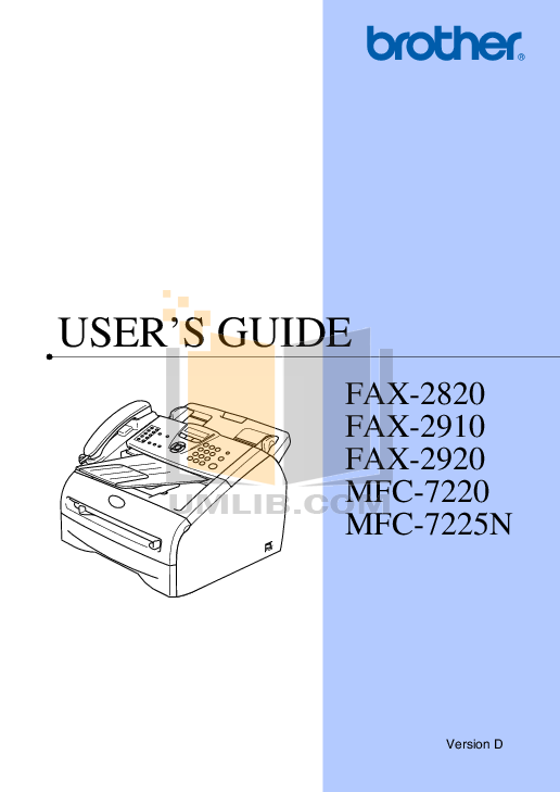 pdf for Brother Fax Machine FAX-2800 manual