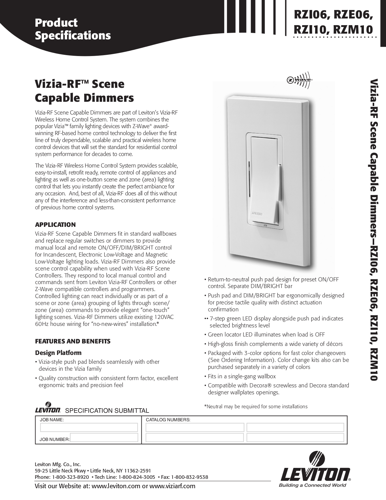 Download free pdf for Leviton RZI10-1L Dimmers Other manual