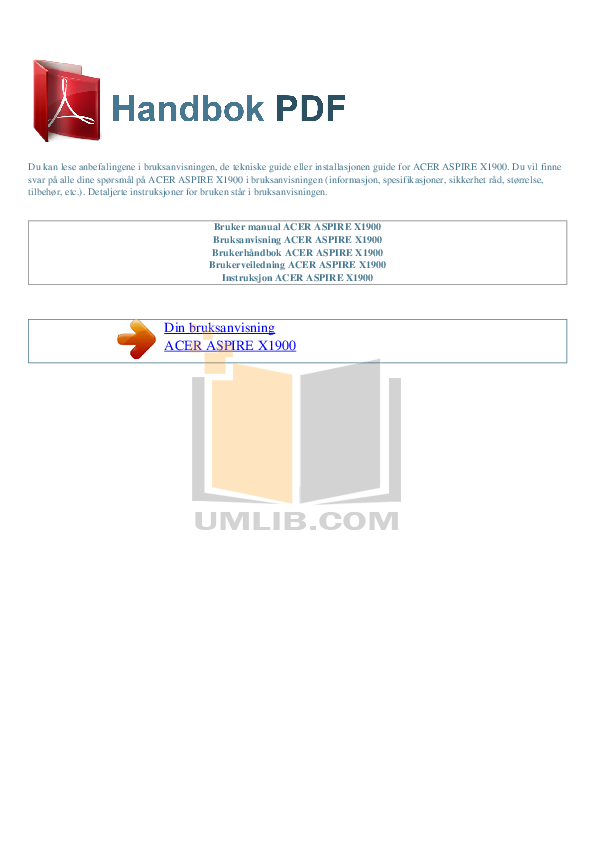 pdf for Acer Desktop Aspire X1900 manual