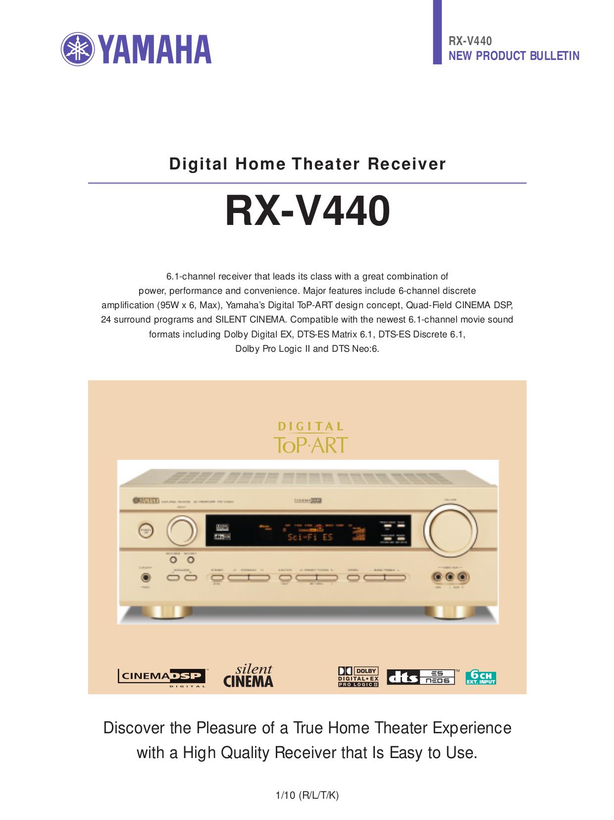 Download free pdf for yamaha rx v440 receiver manual for Yamaha rx v377 manual
