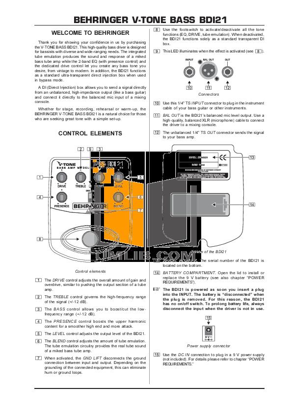 pdf for Behringer Amp BDI21 manual