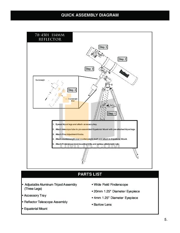 PDF manual for Bushnell Telescope 78-4501