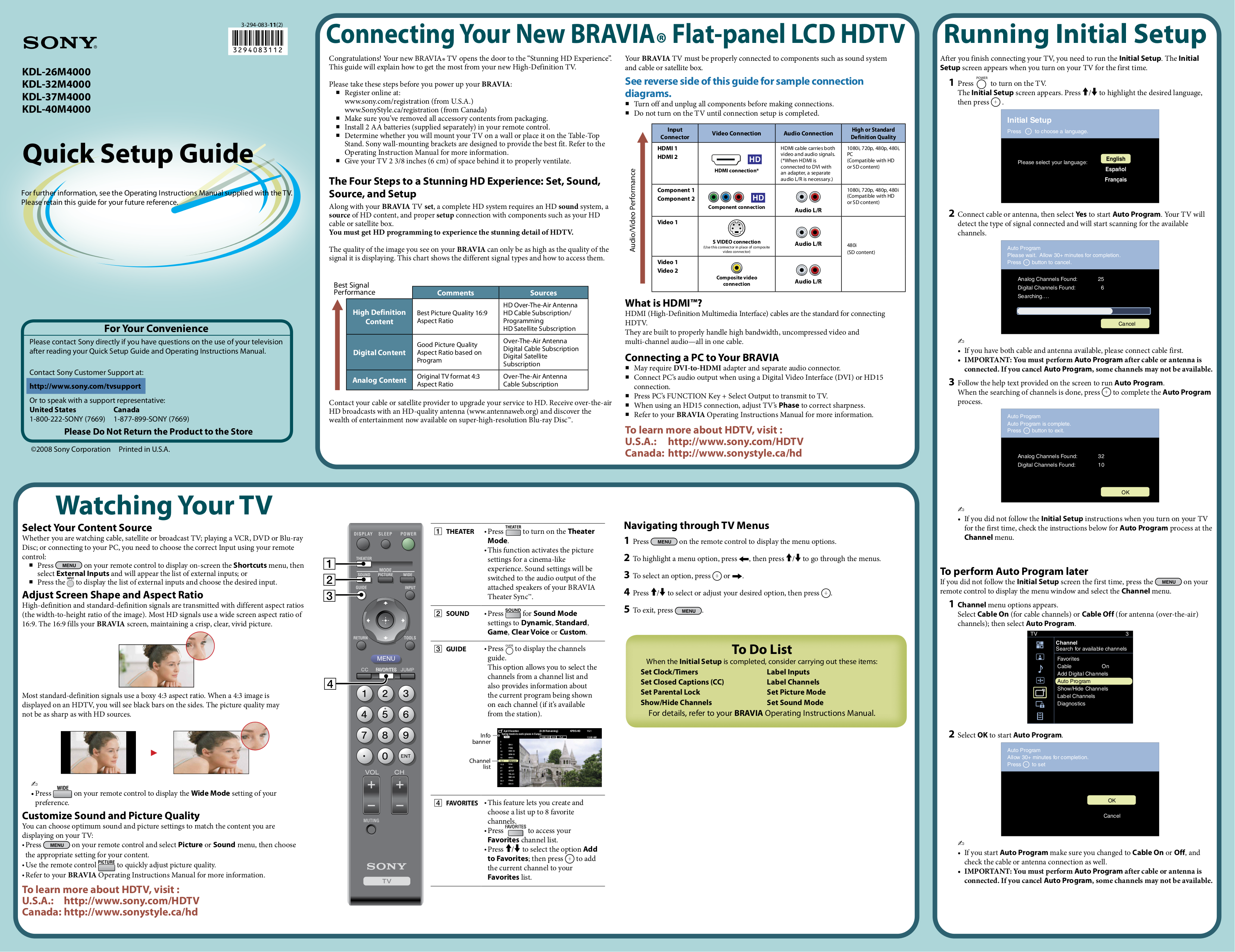 Download free pdf for sony bravia kdl-20s3000 tv manual.