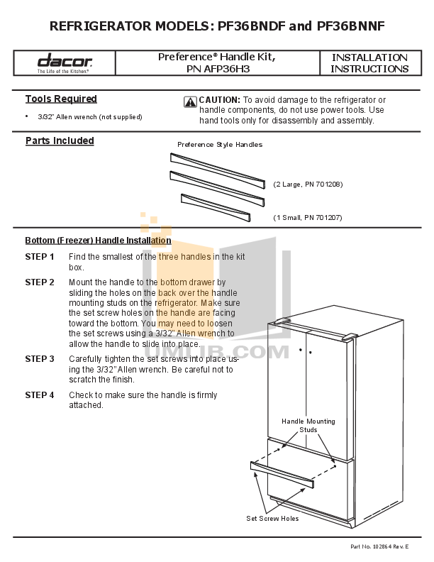 pdf for Dacor Refrigerator Preference PF36BNDF manual