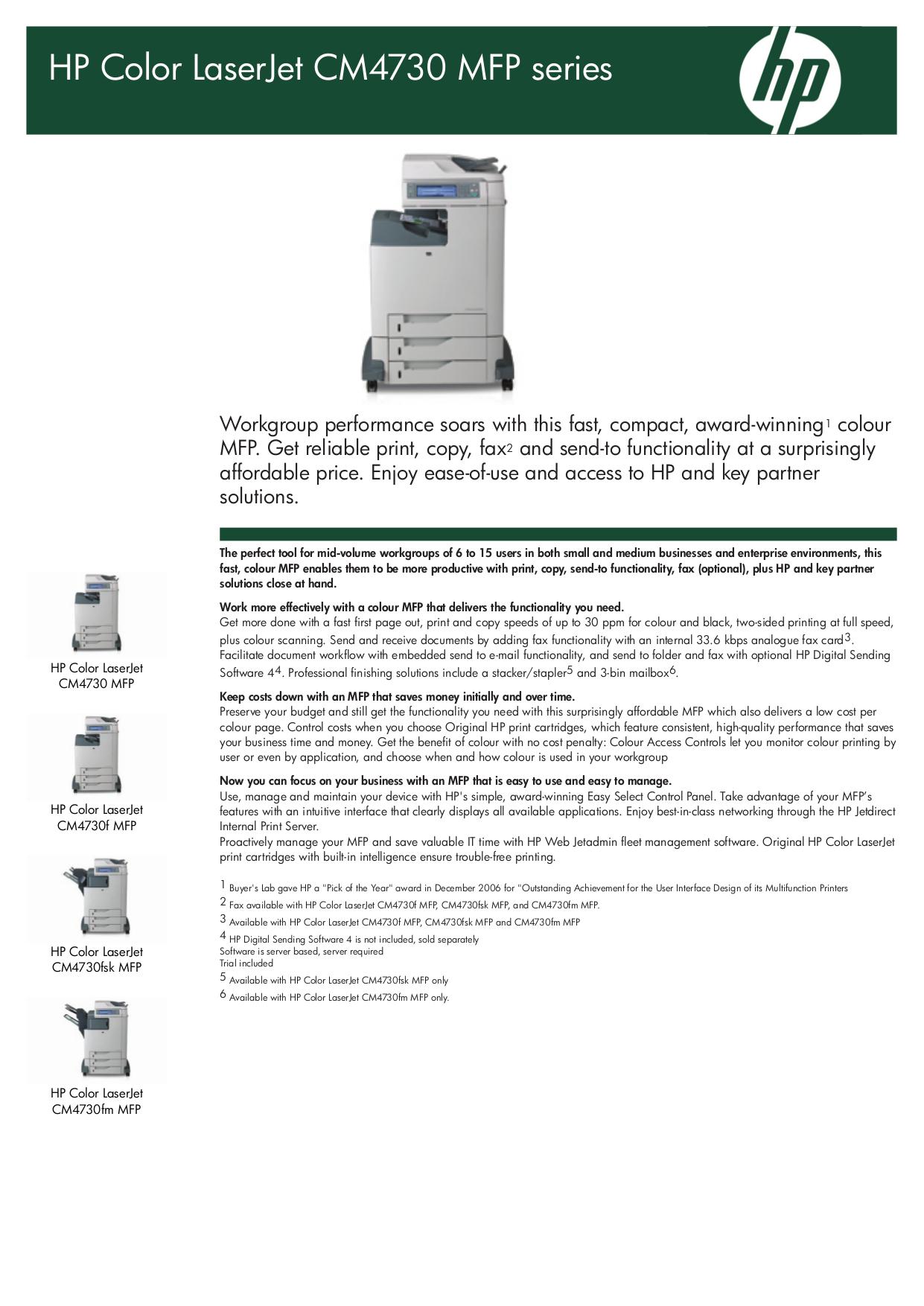 pdf for HP Multifunction Printer Laserjet,Color Laserjet CM4730fm manual
