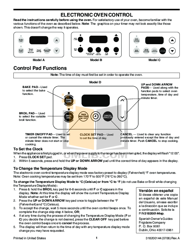 pdf for Frigidaire Range FGFL77ASJ manual