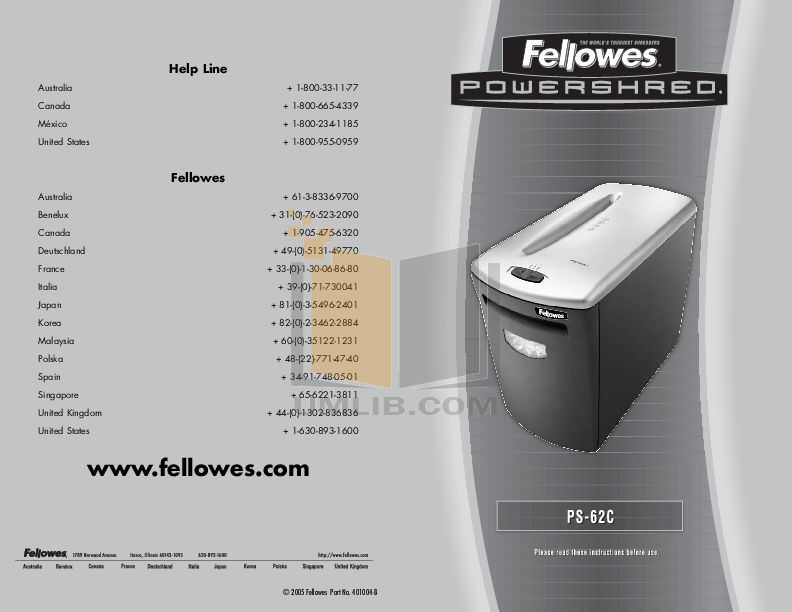 download free pdf for fellowes ps 62c shredders other manual rh umlib com