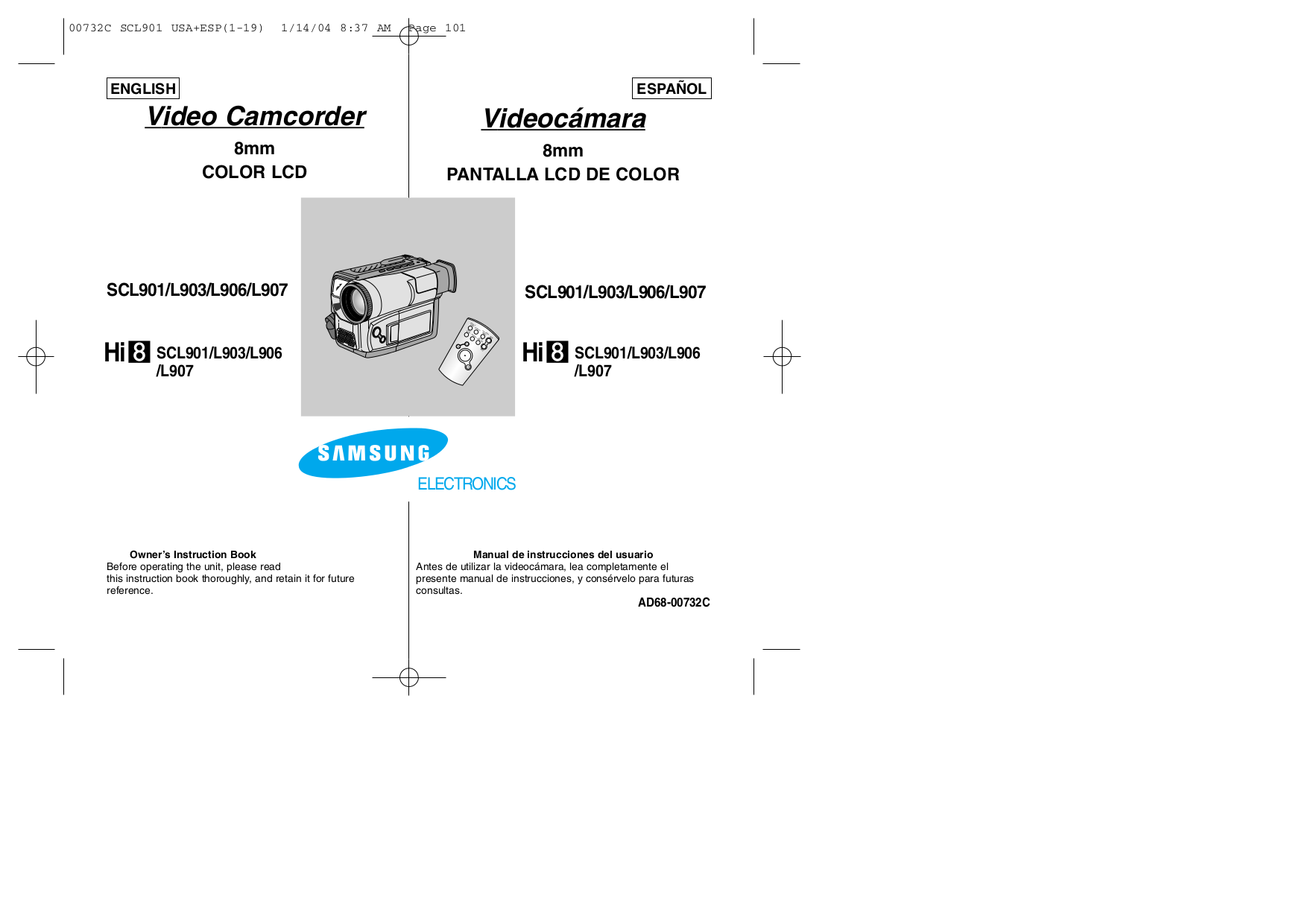 pdf for Samsung Camcorders SC-L903 manual
