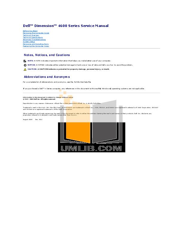 download free pdf for dell dimension 4600c desktop manual rh umlib com dell dimension 4600 user manual dell dimension 4500 manual