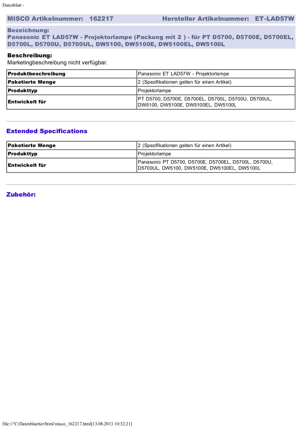 pdf for Panasonic Projector PT-D5700L manual