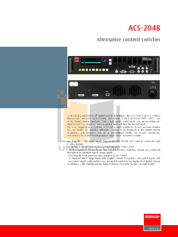 pdf for Barco Switch ACS-2048 manual