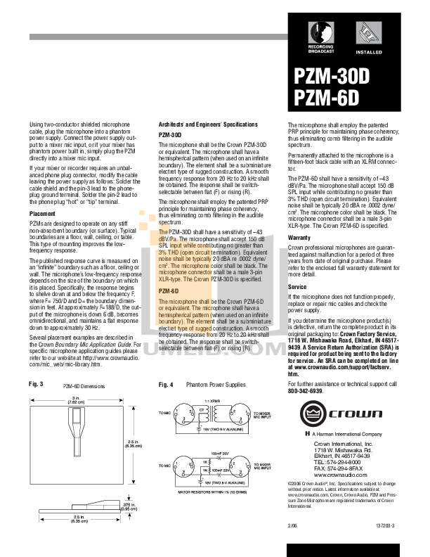 Crown Other PZM-6R Microphones pdf page preview