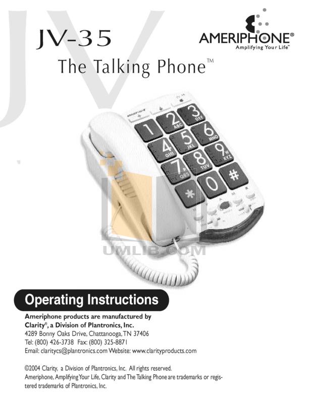 pdf for Clarity Telephone JV35 manual