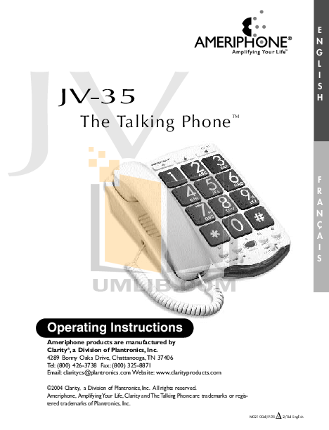 Clarity Telephone JV35 pdf page preview