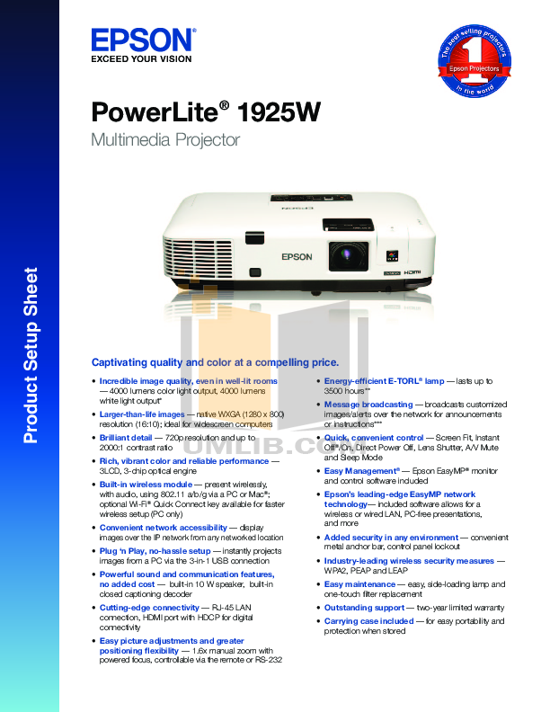 pdf for Epson Projector PowerLite 1925W manual